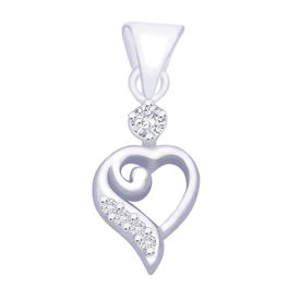 Lovely Heart Zircon Silver Pendant-PD102