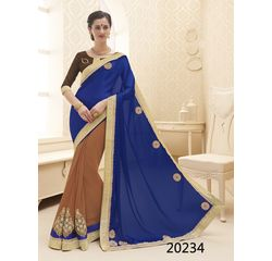 Galaxy Collection Vol 14 Designer Saree Blue, blue, satin chiffon