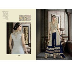 Hanin Collection Vol 3 Salwar Suit Semistitched Golden & Blue, golden & blue, silk