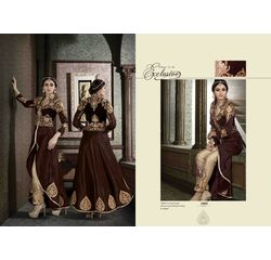 Hanin Collection Vol 3 Salwar Suit Semistitched Brown, brown, silk