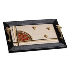 Aakriti Arts Tray Dhokra Warli with Glass in Silk, black frame, 15x10