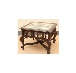 Aakriti Arts Centre Table Teak Wood with Dhokra Brass Work and Warli Art, wooden brown, 30 x30 x18  inch