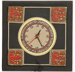 Aakriti Arts Handpainted Wall Clock with Dhokra Warli work 12x12 inch, black gold, 12x12
