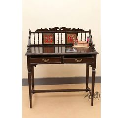 Aakriti Arts Study Table Teak Wood with Dhokra Brass Work and Warli Art, wooden brown, 24 x18 x40  inch