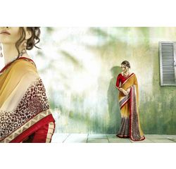 Mannat Collection Printed Georgette Sarees Mustard, mustard, georgette, printed