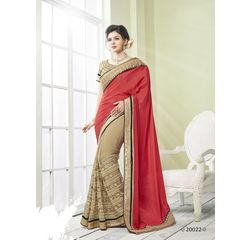 Zeenat Collection Vol 3 Designer Heavy Work Georgette Saree Beige & Red, beige & red, georgette