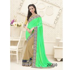 Galaxy Collection Vol 14 Designer Saree Beige & Green, beige & green, satin chiffon