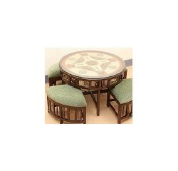 Aakriti Arts Centre Table Teak Wood with Dhokra Brass Work and Warli Art, wooden brown, height 20  dia 36  inch