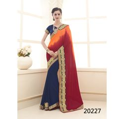 Galaxy Collection Vol 14 Designer Saree Blue, blue, chinon