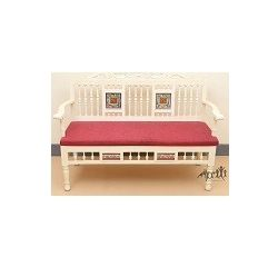 Aakriti Arts Sofa Chair Double Teak Wood with Dhokra Brass Work, maroon red, 51 x19.5 x33  inch sitting space 46 inch