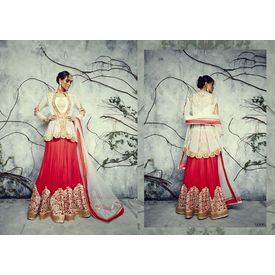 Designer Lehenga Collection Divyam Off White & Red, off white & red, semi georgette