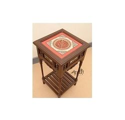 Aakriti Arts Corner Table Teak Wood with Dhokra Brass Work and Warli Art, wooden brown, 18 x18 x24  inch
