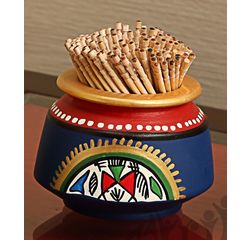 Aakriti Arts Toothpick Holder Terracota Warli Blue, blue, small
