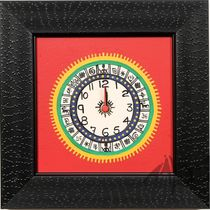 Aakriti Arts Handpainted Wall Clock with Warli work 9x9 inch, red black, 9x9