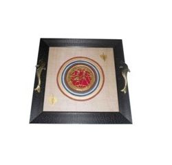 Aakriti Arts Tray Dhokra Warli with Glass in Silk, black frame, 13x13