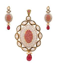 Diamond-n-Pink Pendant Set, pink