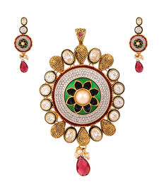 Multicoloured Embellished Pendant Set, red