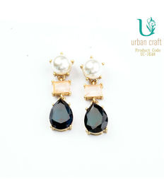 Pearl & Black Linear Earrings, black