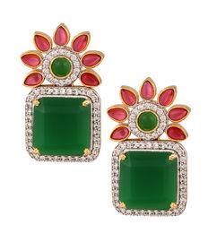 Ruby-Emerald Classic Earrings, green & red