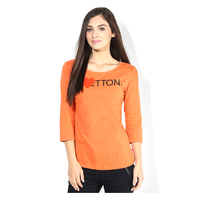 United Colors of Benetton Solid T Shirt, l,  orange