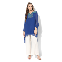 Global Desi Embroidered Polyester Tunic, xxl,  blue