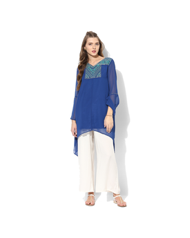 Global Desi Embroidered Polyester Tunic, xs,  blue