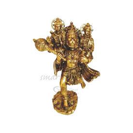 Brass Statue Lord Hanuman With Lord Ramji & Lord Lakshmanji On Shoulders, brass