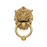 Door Knocker - Lion Mouth, 6.5 inches, antique, brass