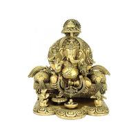Enthroned Ganpati Brass Statue, brass