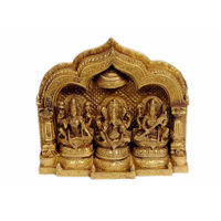 Mini Temple Ganesha, Lakshmi, Saraswati 9 Golden Polish, brass