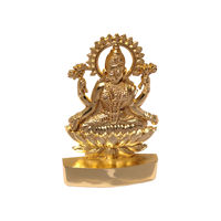 Sarswati Ji With Flower Statue, gold, zinc