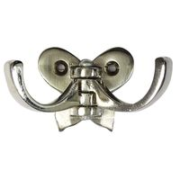 Wall Mounted Coat Hook Butterfly Small, 1 inches, nickel silver, zinc