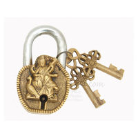 Brass Metal Craft Made Door Padlock With Sarswati Maa, 4 inches, gold, brass