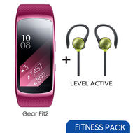 Samsung Gear Fit 2 Large+ Level Active Bundle Offer,  Pink