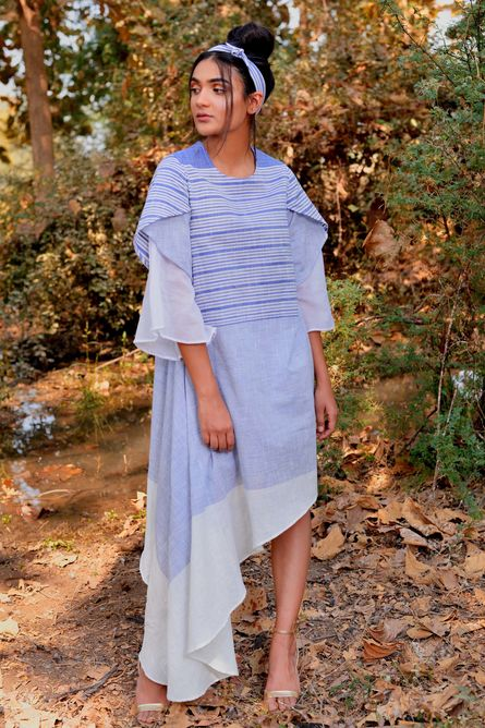 BLUE STRIPE UNEVEN DAY DRESS