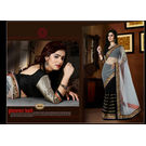 Kmozi Designer Saree, black and white