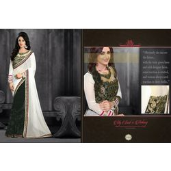 Kmozi Designer Embroide Sarees, white and black