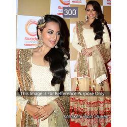 Kmozi Bollywood Replica Sonakshi Gold Queen Lehenga, cream
