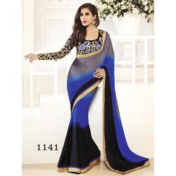 Kmozi Fancy Saree Buy Online Shopping, blue and black