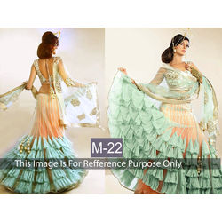Kmozi Designer Lehenga Choli, rama and peach