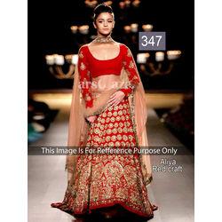 Kmozi Aliya Craft Bollywood Lehenga Choli, red