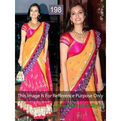 Kmozi Bollywood Replica Diya Mirja Life Style Lehenga, yellow and pink