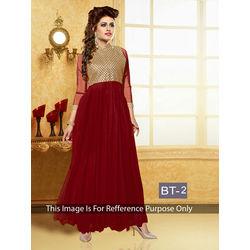 Kmozi Fancy Designer Anarkali Suit, maroon