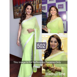 Kmozi Madhuri Lime Beauty Designer Saree, lime