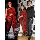 Kmozi Esha Deol Half Printed Designer Saree, red and white