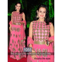 Kmozi Amisha Life Style Designer Floor Touch Anarkali, pink