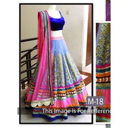 Kmozi Dark Net Embroide Bridal Lehenga Choli On Vv, blue and pink