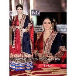 Kmozi Sri Devi Designer Anarkali Dress, red