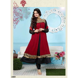 Kmozi Latest Designer Long Anarkali Suit, red