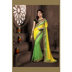 Kmozi Fancy Lace Workdesigner Saree, light green and yellow